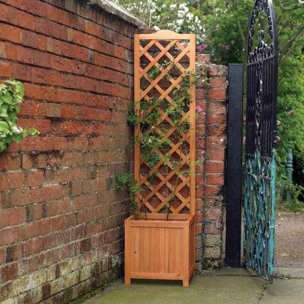 1.6m Square Wooden Planter Climber with Thin Back Trellis (New  FREE Local Delivery)