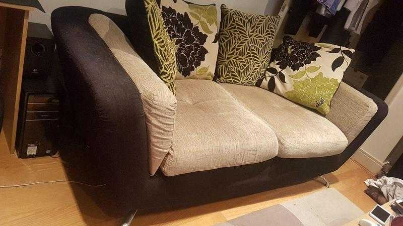 Beautiful 3 Seater Beige and Black Sofa