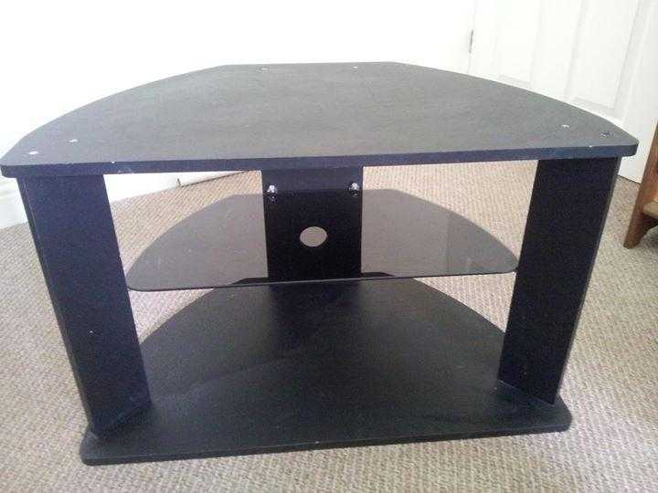 Black wood and glass TV stand.