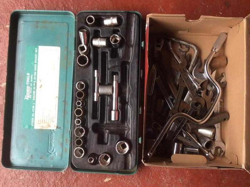 Box of Imperial size sockets and spanners
