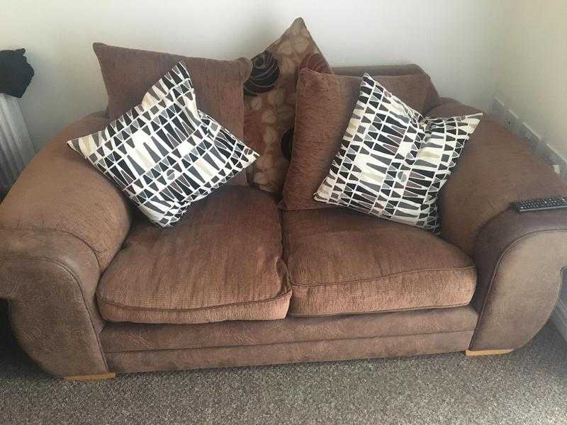Brown Double Sofa and Armchair for Sale (Birtley, DH3, Collection only)