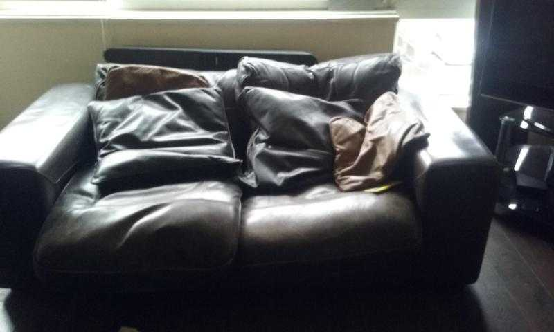brown leather sofa 3 seater two seater and chair USed