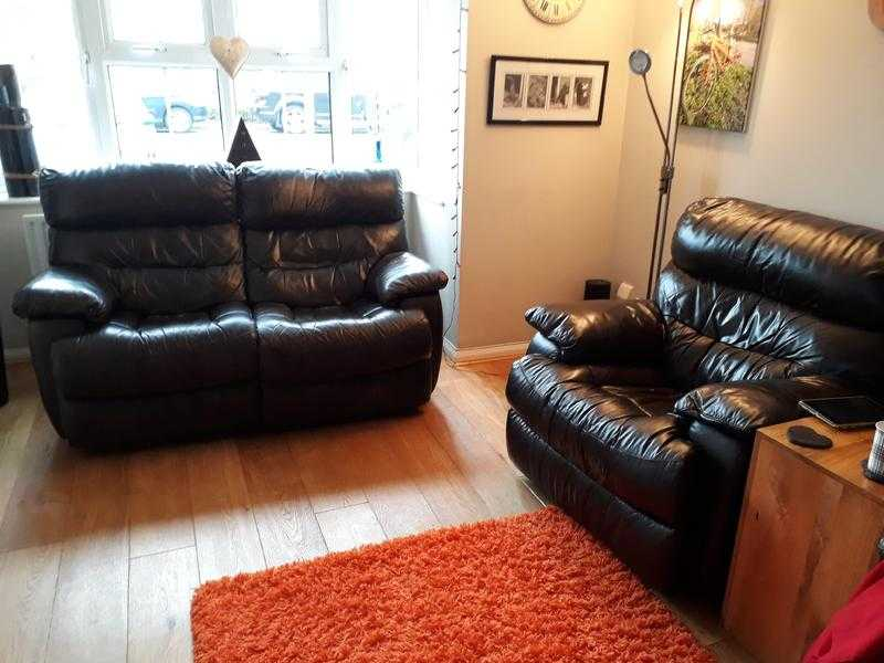 Dark Brown Leather Recliner Sofa - 2 Seater and 2 Armchairs