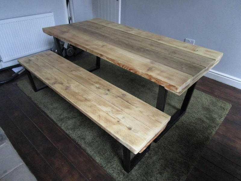 Dining table and Bench, reclaimed wood tops, industrial metal base, vintage stayle,shabby chic,table