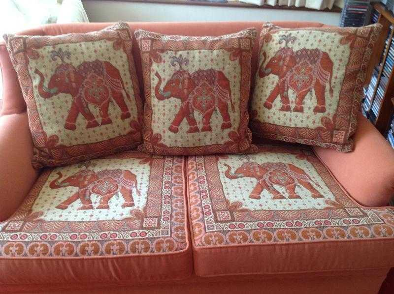 Dusky Pink Two Seater Sofa With Elephant Design Cushions Used