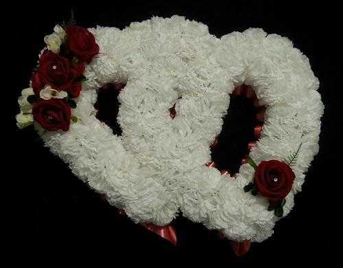 Funeral Floral Tributes Artificial Flowers Double Open Hearts