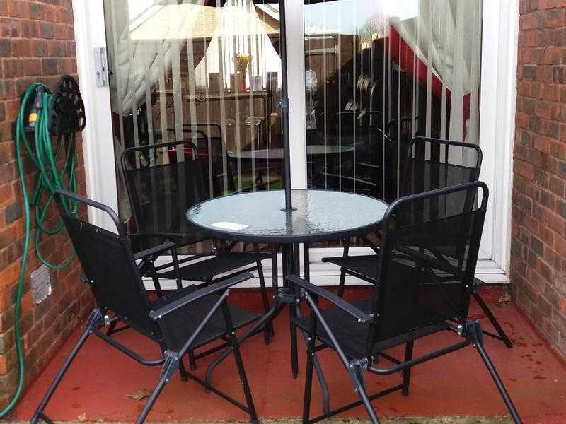 GARDEN TABLE amp FOUR CHAIRS WITH PARASOL