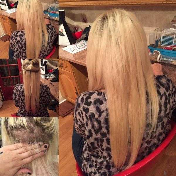 Hair extension fitting with hair provided