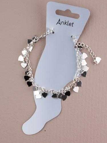 JTY005 - Silver coloured chain anklet with cascading silver coloured hearts