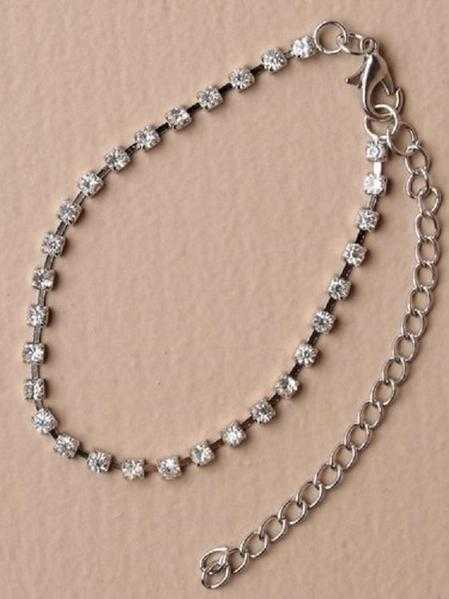 JTY117C - 1 Row coloured crystal diamante anklet chain - Clear