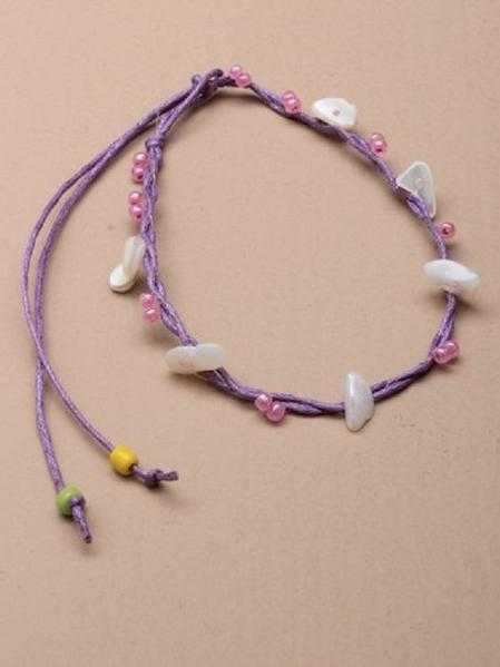 JTY124A - Coloured seed bead and shell chip anklet.  Purple