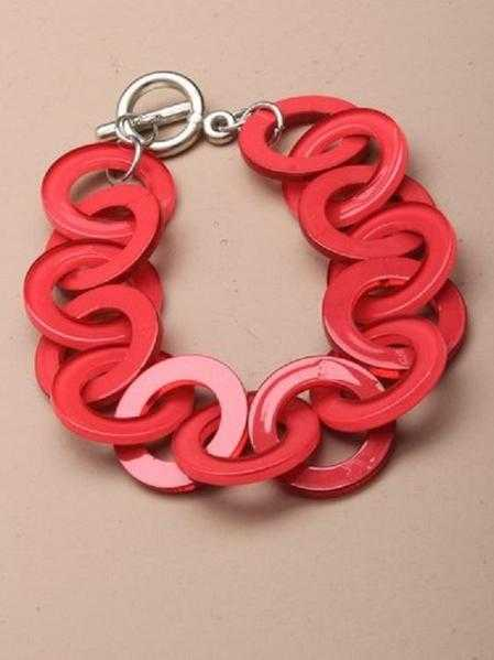 JTY125A - Brightly coloured entwined plastic rings bracelet - Pink