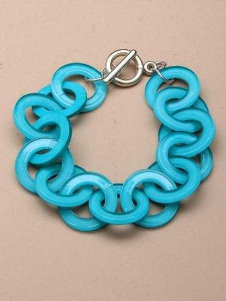 JTY125B - Brightly coloured entwined plastic rings bracelet - Blue