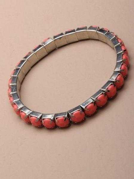 JTY128A - Pastel coloured opaque stone stretch bracelet. Pink