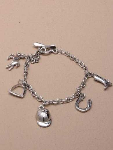 JTY150 - Silver coloured chain bracelet with horse riding charms