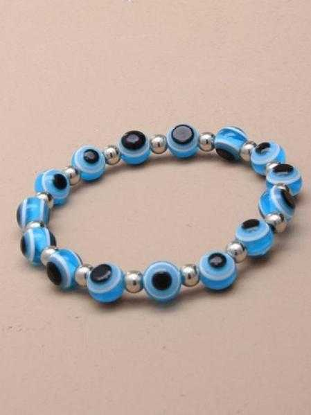 JTY155B - Eye bead stretch bracelet. Light blue