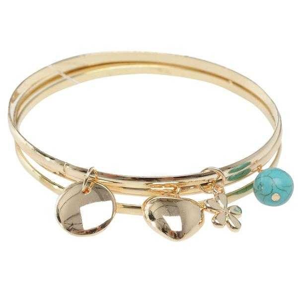 JTY191 - Gold coloured bangle set with Charms