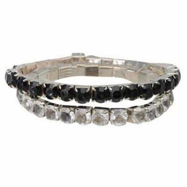 JTY193 - Pair of acrylic stone bracelets each set has one black and one clear stretch bracelet