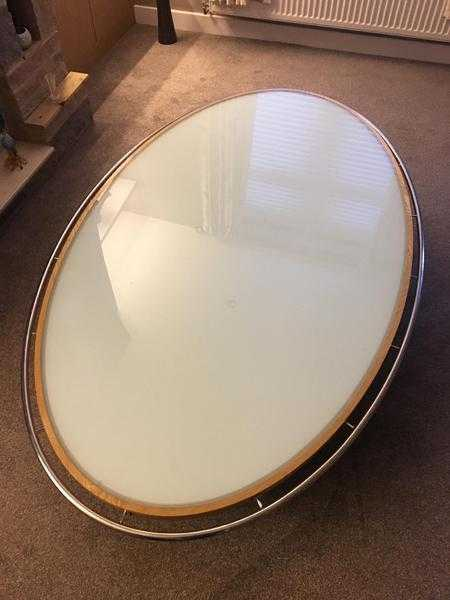 Large solid oak wood milk top glass coffee table