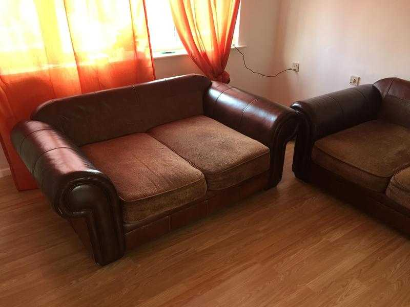 Leather-fabric sofa