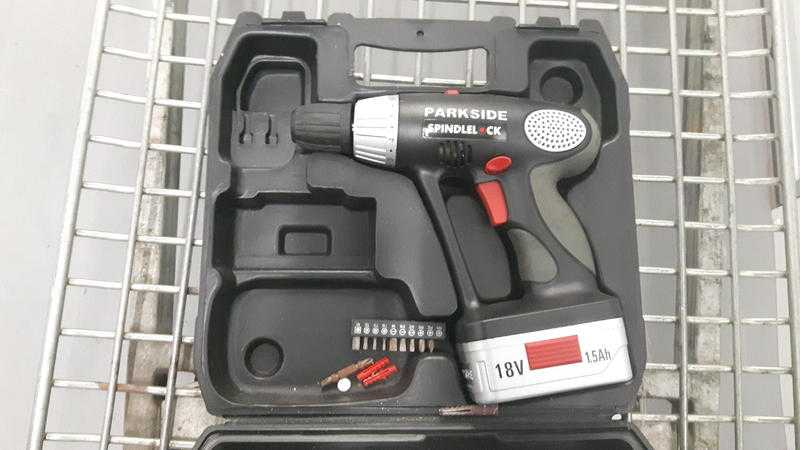 Parkside Spindle CK 18v 1.5ah cordless drill with bits in carry case