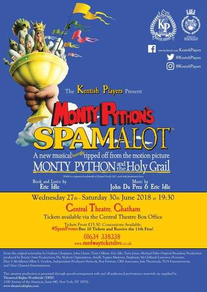 SPAMALOT - Central Theatre, Chatham 27 -30 June 2018