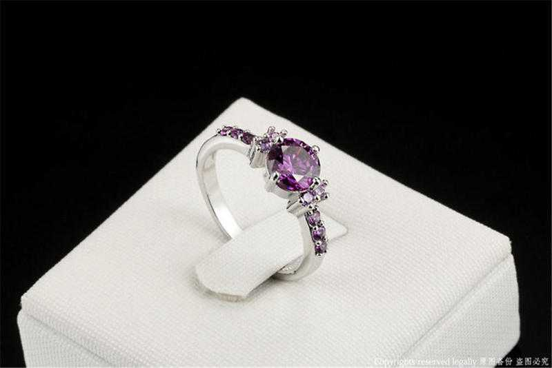 Sterling Silver Ladies Ring with Amethist CZ AAA