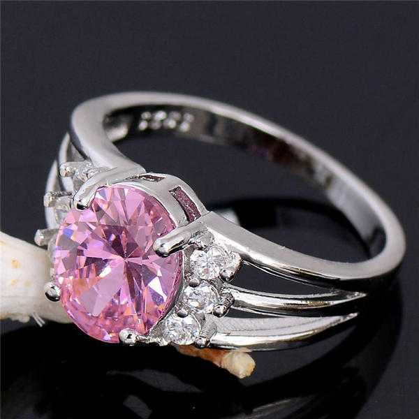 Sterling Silver Ladies Ring with Morganite Sapphire  CZ AAA