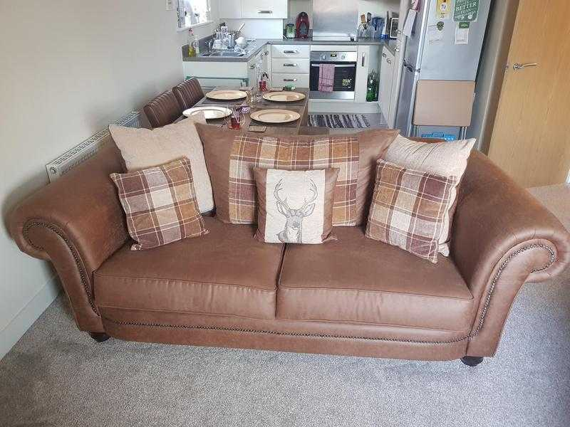 Stunning tartan, brown faux leather sofa and love chair