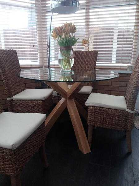 Table and 4 chairs plus side table