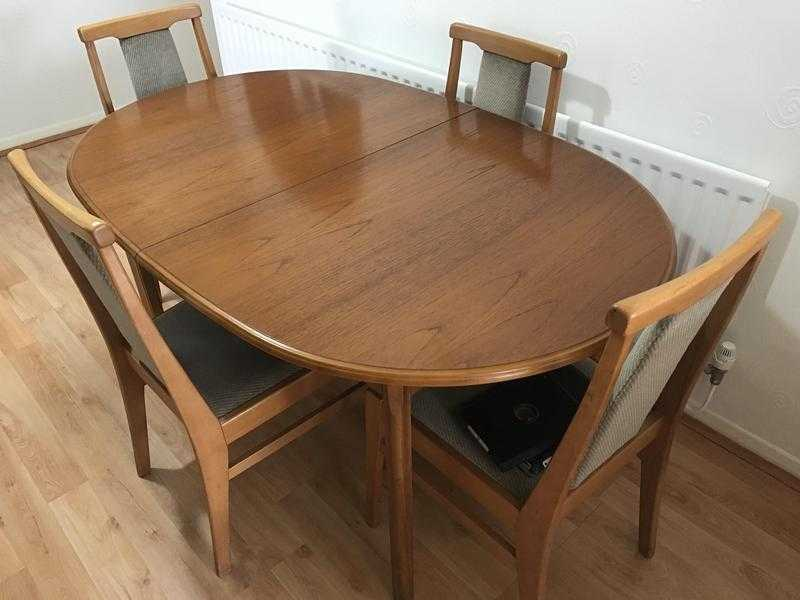 TEAK EXTENDING DINING TABLE amp 4 CHAIRS