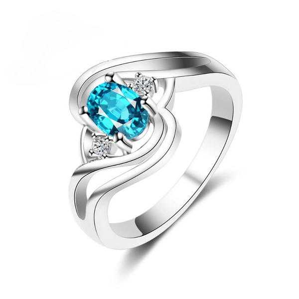 Turquoise Zircon AAA CZ Sterling Silver Ring