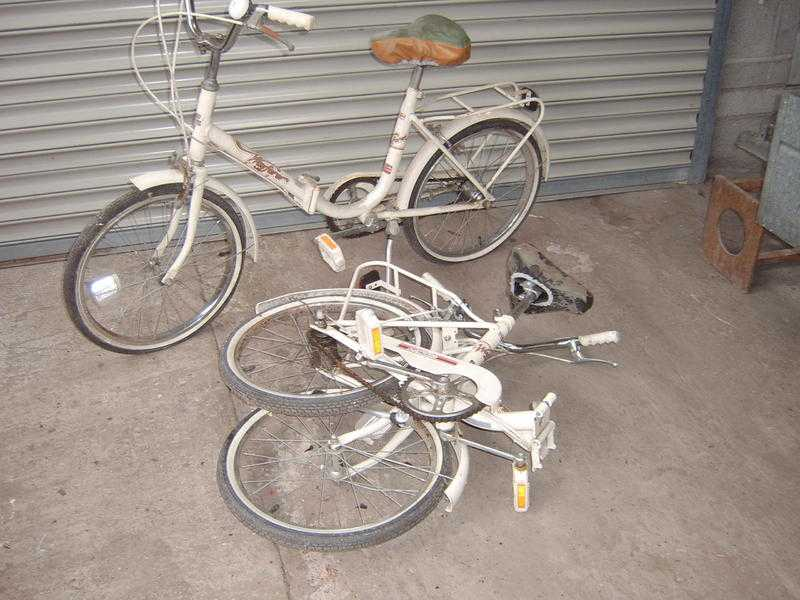Two adult folding bicycles