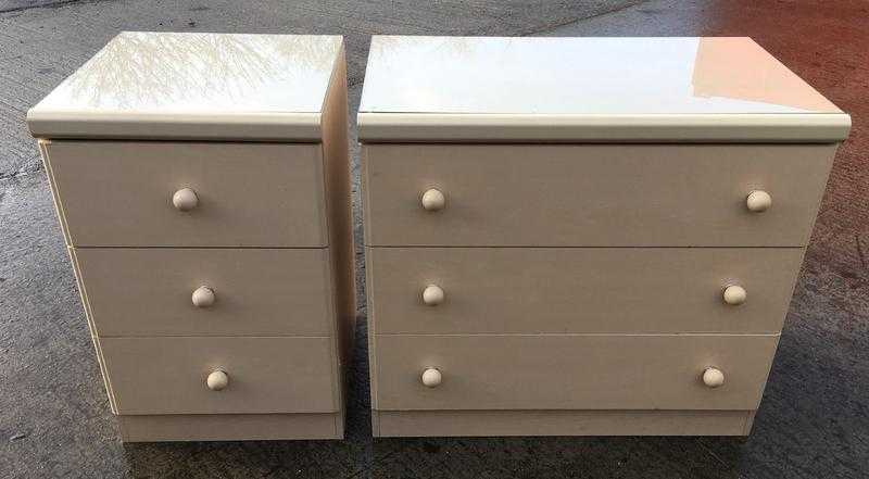 TWO BEECH EFFECT 3 DRAWER CHESTS