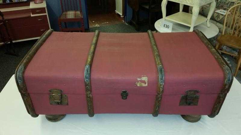 Vintage Wood Banded Steamer Trunk