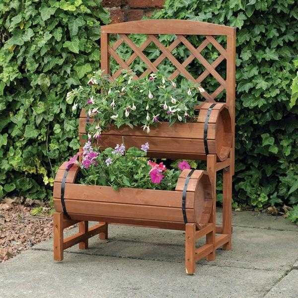 Wooden Twin Barrel Planter - NEW  FREE Local Delivery