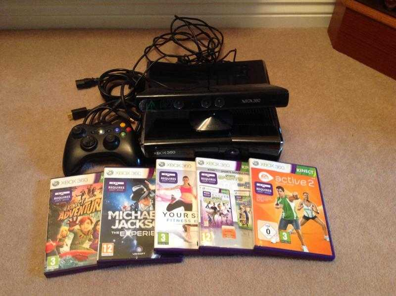 Xbox 360 with Kinect and 5 games.